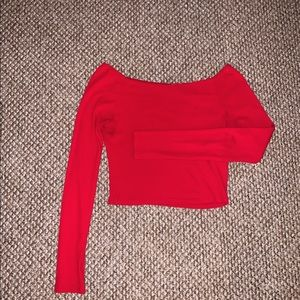 Off-the shoulder Brandy Melville red long sleeve